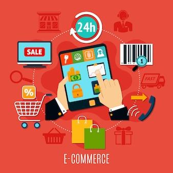 Composição redonda de comércio eletrônico