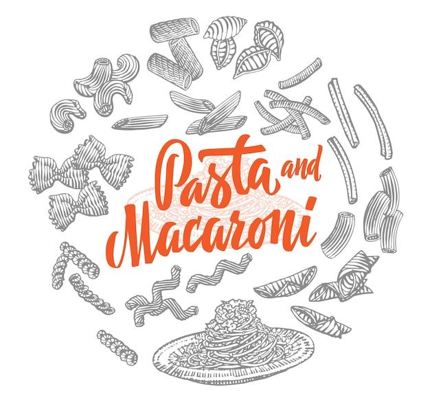 Composição redonda de elementos de comida italiana