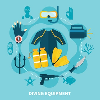 Composição redonda de equipamento de mergulho