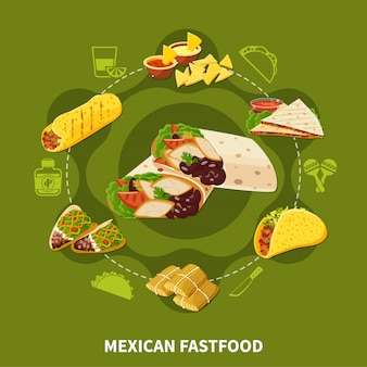 Composição redonda de fastfood mexicano