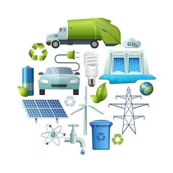 Composição redonda de ícones de ecologia