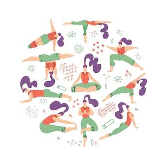 Composição redonda de mulheres de ioga