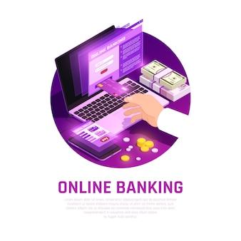 Composição redonda isométrica de banco on-line