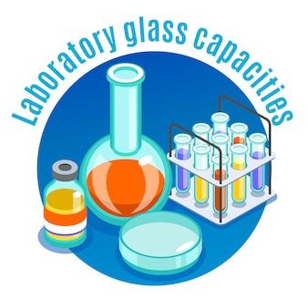 Composição redonda isométrica de microbiologia com título de capacidades de vidro de laboratório e ilustração de elementos diferentes de grama