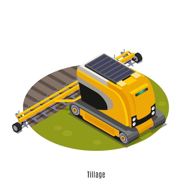 Composição redonda isométrica de robôs agrícolas com terra de arado para lavoura totalmente automatizada