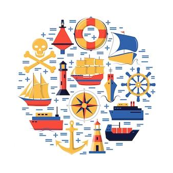Composição redonda marinha com elementos de navio