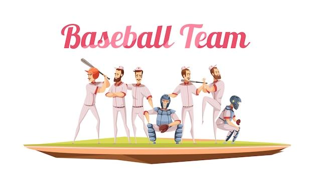 Composição retrô de time de beisebol com atletas de uniforme e capacetes segurando o desenho animado de tacos de beisebol
