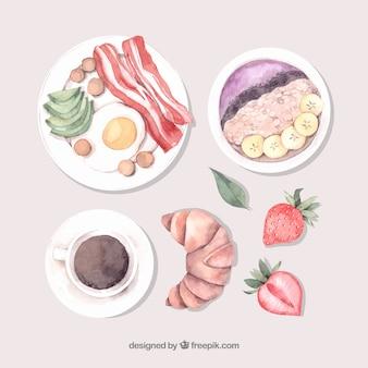 Composição saborosa café da manhã aquarela