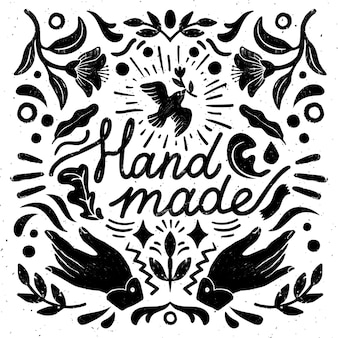 Composição simétrica artesanal - elementos vintage em estilo carimbo e máquina de costura com letras feitas à mão