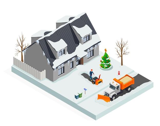Composição suburbana de limpeza de neve