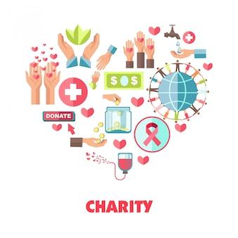 Composição temática de caridade em forma de coração grande