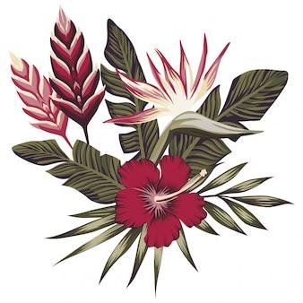 Composição tropical folhas e flores