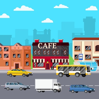 Composição urbana do café da rua