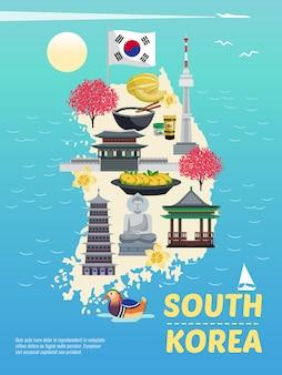 Composição vertical do cartaz do turismo de coreia do sul com imagens da garatuja na silhueta da ilha com ilustração do mar e do texto