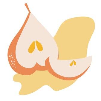 Composição vetorial com fatias de pêra. fruta bonita em estilo simples, desenho, desenho de mão. duas peras: inteiras e meio cortadas. composição para um cartão postal, capa, embalagem, banner, pôster. produto natural saudável