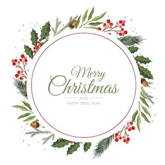 Composição vetorial com galhos de floresta de inverno. ótimo para cartões de natal, convites de festas, vendas de férias. pode ser usado para pôster, página da web, embalagem.