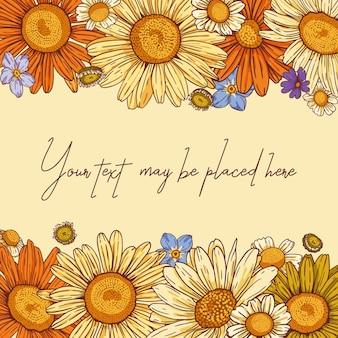 Composição vetorial floral para cartão ou convite com banner de cartaz com área de texto horizontal