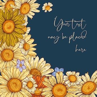 Composição vetorial floral para cartão ou convite de banner de cartaz com área de texto redonda