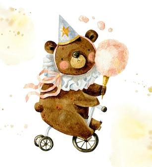 Composição vintage feliz aniversário com urso fofo na tampa de aniversário