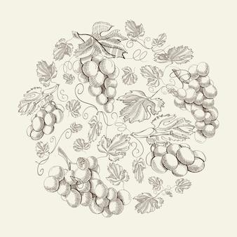 Composição vintage floral natural abstrata com cachos de uvas desenhados à mão na luz
