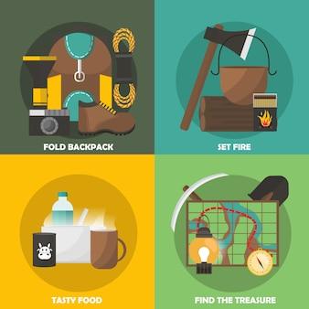 Composições coloridas de acampamento