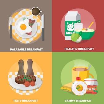 Composições coloridas de café da manhã