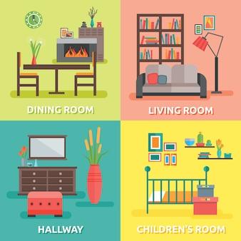 Composições coloridas para interiores