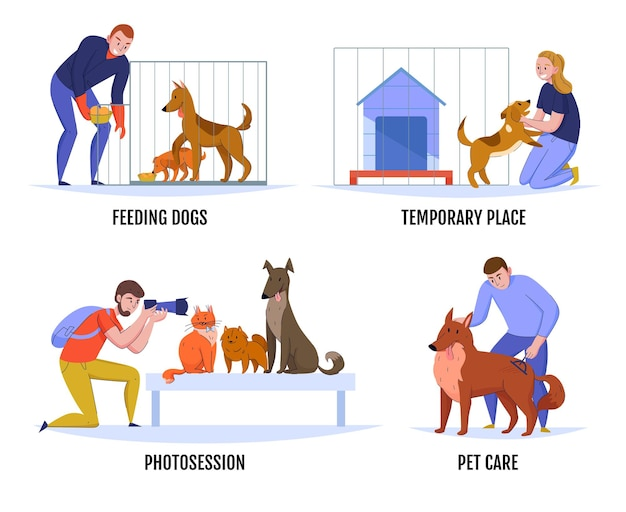 Composições de abrigos de animais definidas com rabiscos de animais e personagens humanos com ilustração de legendas de texto editáveis