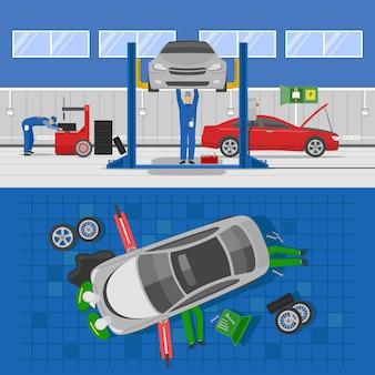 Composições de auto serviço com interior da oficina e reparo do carro de vista de cima isolado