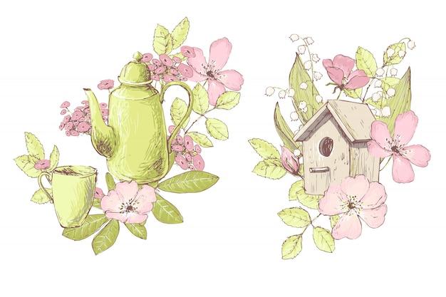 Composições de belo vetor, flores silvestres, bule, casa de passarinho.