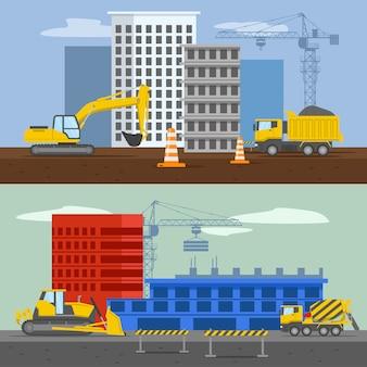 Composições de conjuntos habitacionais com construções residenciais highrise, construindo sistema de barreira de máquinas no céu isolado