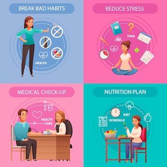 Composições de desenhos animados de conceito de estilo de vida saudável com maus hábitos, quebrando o estresse, reduzindo a nutrição do exame médico