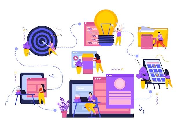Composições de espaço de trabalho de negócios definidas com fluxograma