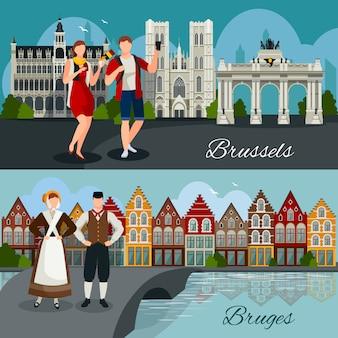 Composições de estilo plano de cidades belgas