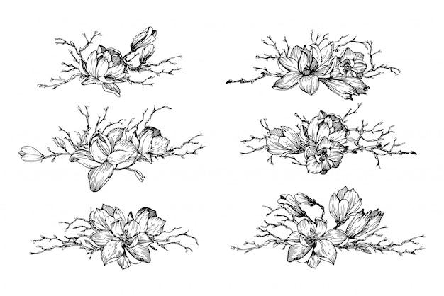 Composições de flores com galhos