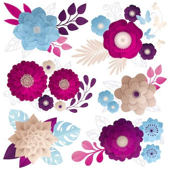Composições de flores de papel colorido conjunto