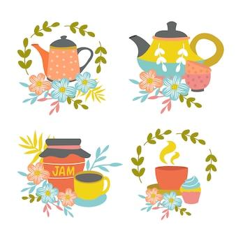 Composições de hora do chá desenhadas à mão