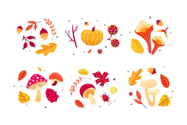 Composições de outono de folhas, cogumelos, galhos, besouros e sementes.