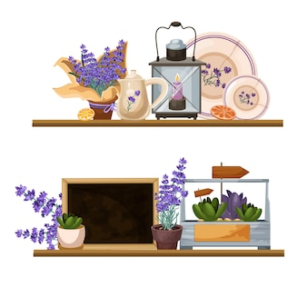 Composições decorativas em estilo provençal lavanda