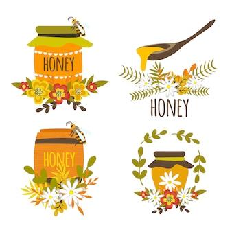 Composições desenhadas à mão de mel