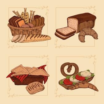 Composições desenhadas à mão para padaria