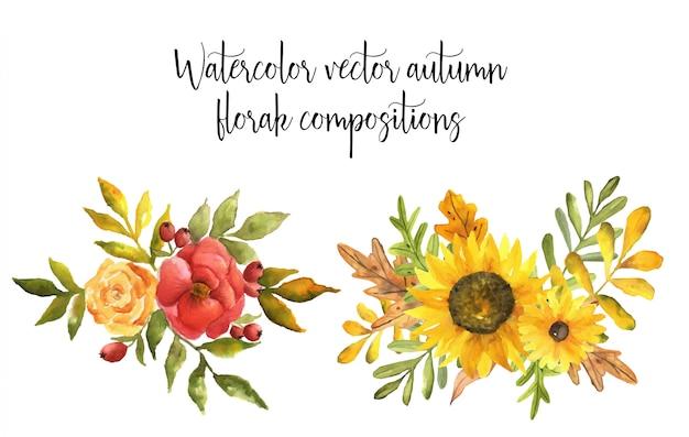 Composições florais de outono em aquarela