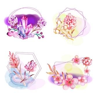 Composições florais em aquarela com joias e linhas geométricas