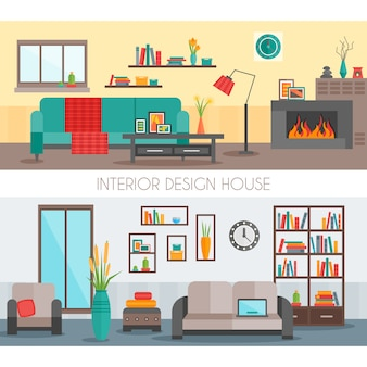 Composições interiores planas