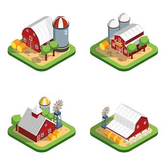 Composições isoladas isométricas de fazenda
