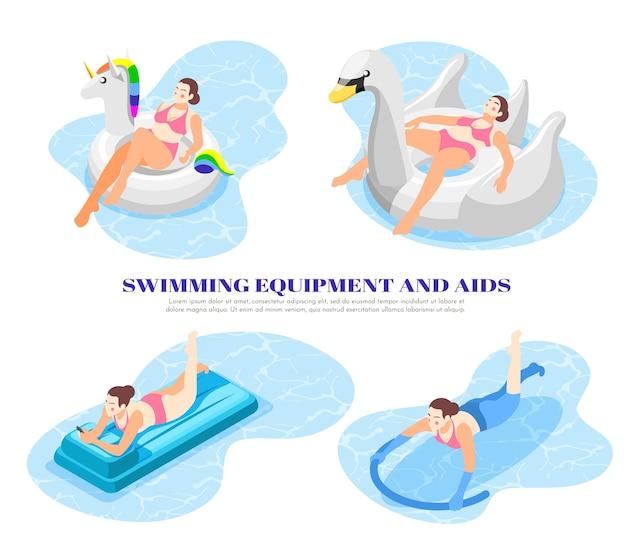 Composições isométricas 4x1 definidas com pessoas usando equipamentos de natação e ajudas em piscina 3d isolada