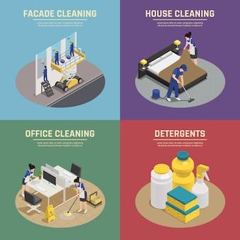 Composições isométricas com limpeza profissional de edifícios de fachada