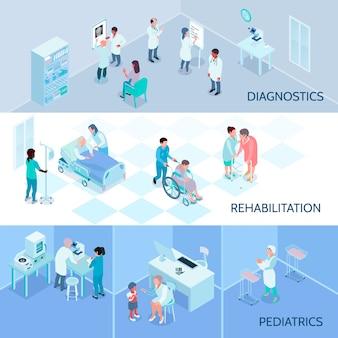 Composições isométricas da equipe do hospital