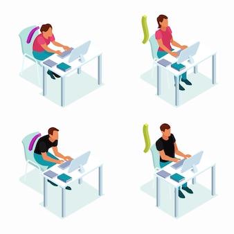 Composições isométricas da posição sentada correta com postura correta e incorreta no computador