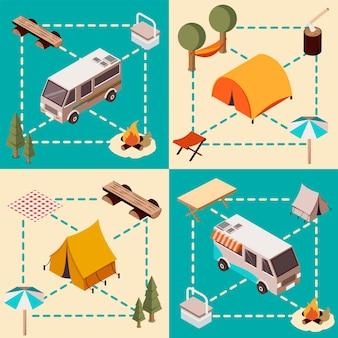 Composições isométricas de acampamento